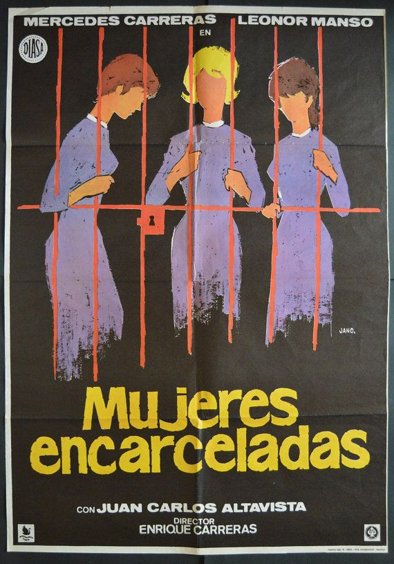MUJERES ENCARCELADAS (1975) with Leonor Manso y Mercedes Carreras. Original Spanish Movie Poster.