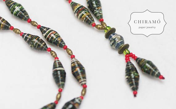 One-of-a-kind, long paper bead necklace