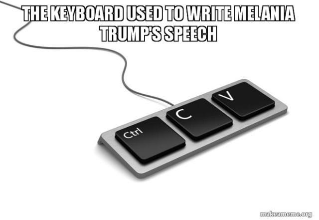 Funniest Memes Mocking Melania Trump's Plagiarized GOP Convention Speech: Melania Trump's Keyboard