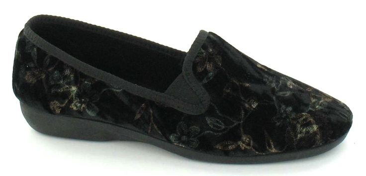 Spot On X2015 Ladies Black Soft Touch Textile Slip On Floral Slippers