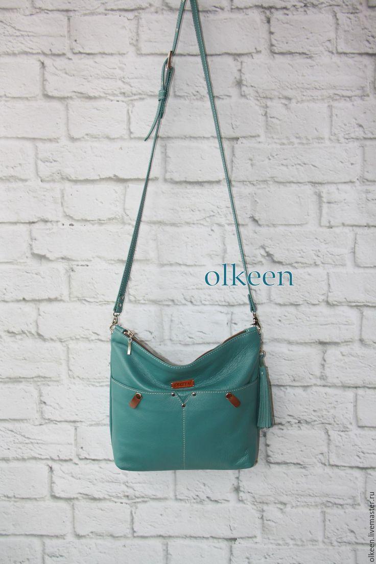 Купить Сумка кожаная женская кожаная Autograph бирюзовый - бирюзовый, сумка, сумочка, сумка кожаная