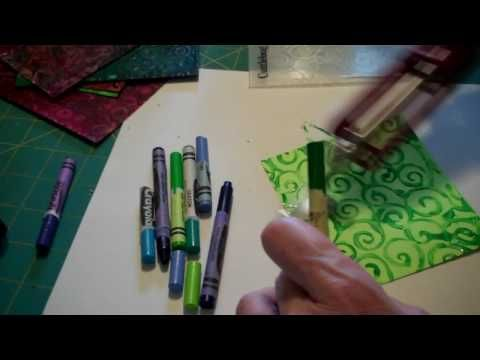 A quick little demo showing how to melt crayons on an embossed paper surface. Use a Cuttlebug embossing folder to emboss paper/cardstock then melt crayons using a small craft iron with variable temperature. Do not let crayons smoke! Do not leave unattended. Not  suitable for children. There may be other cautions that I have missed so beware and ...