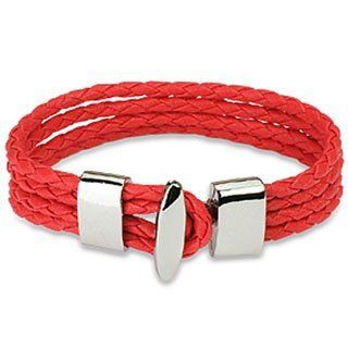 "Red 4 String Braided Leather Bracelet Wristband K37 blue palm jewerly. $12.99. 7.87"" length. 0.59"" width. leather bracelet. T-bar Closure. Save 48%!"