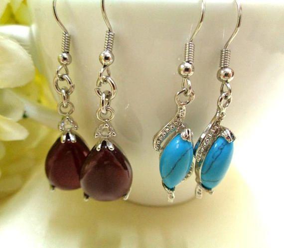 Two Pairs Gemstone Earrings Red Agate Earrings Turquoise