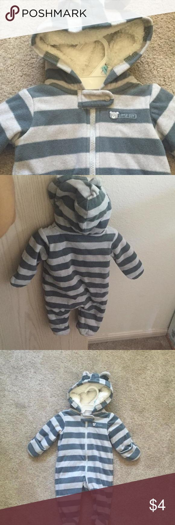 Cozy striped jumpsuit Grey stripes jumpsuit with hood and little ears. Cozy and warm. Carters One Pieces Footies