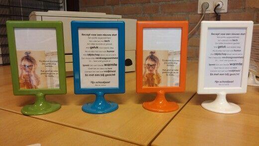 Voor de collega's bij start van het nieuwe schooljaar. Gedichtjes gevonden met PINTEREST, lijstje van de IKEA.