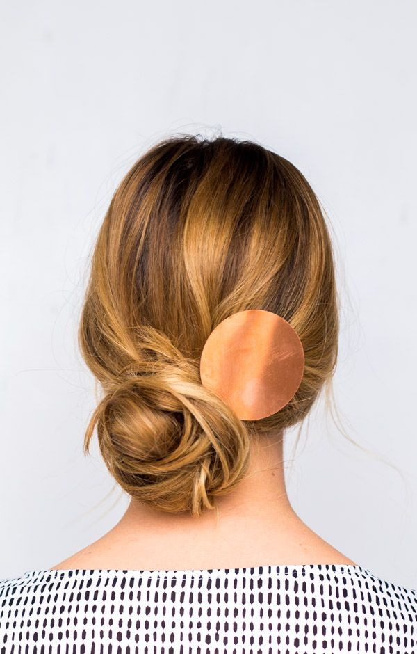 DIY Double Take: Messy Side Swept Chignon Hair Tutorial + DIY Copper Statement Hair Accessory - Paper and Stitch