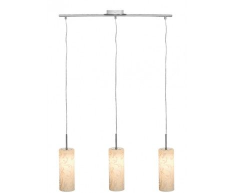 Amadora 3 Light Pendant in Brushed Chrome/Opal Etched Glass,Lighting,Beacon Lighting