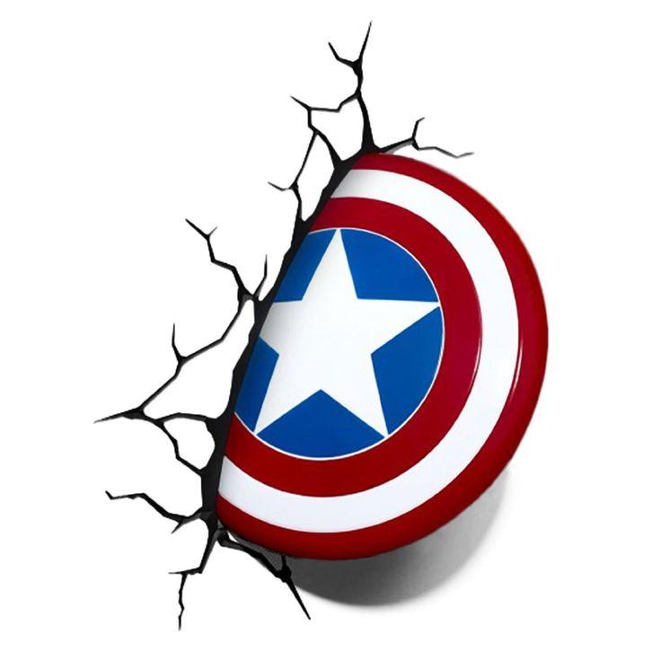 De bouclier de Captain America 3D Deco Lampe: Amazon.fr: Luminaires et Eclairage