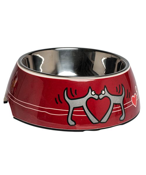 ROGZ BUBBLE BOWL 2-IN-1 RED HEART. Available from www.nuzzle.co.za