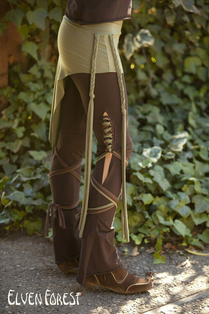 Tassel Lace Up Dance Pants - in Brown - you choose your color strings. via Etsy.