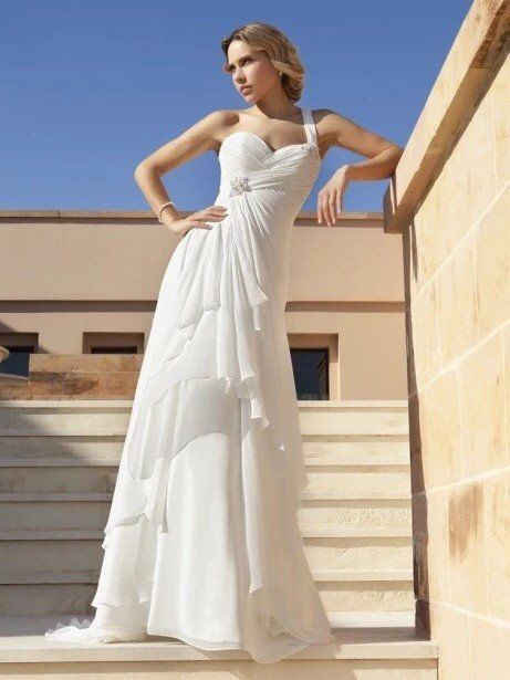 One Shoulder Chiffon Satin Sheath Wedding Gown with Asymmetrical Ruching and Tiered Ruffles
