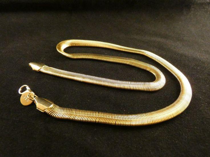 Halskette 24 Karat Vergoldet Schlangenkette 50cm Valentinstag Collier Flach
