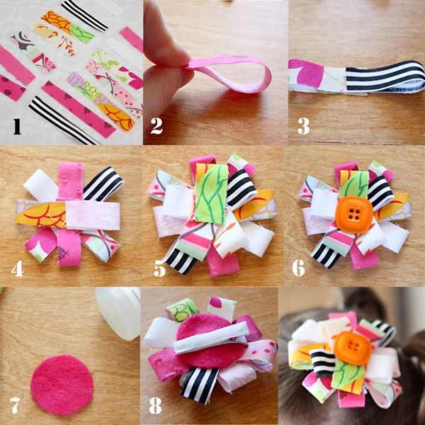 make hairbows out of strips of leftover fabric ((:
