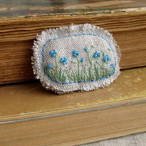Hand Embroidered Blue Flowers brooch