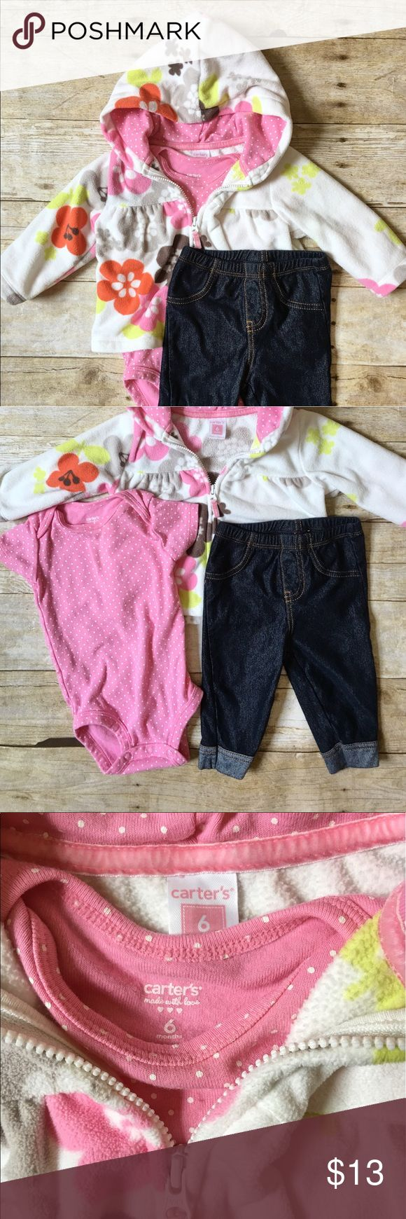 CARTERS Floral Fleece Hoodie Set Adorable and cozy warm fleece set includes a pink wig polka dots onesie, jean leggings, and a floral hoodie fleece sweater. Carter's Matching Sets