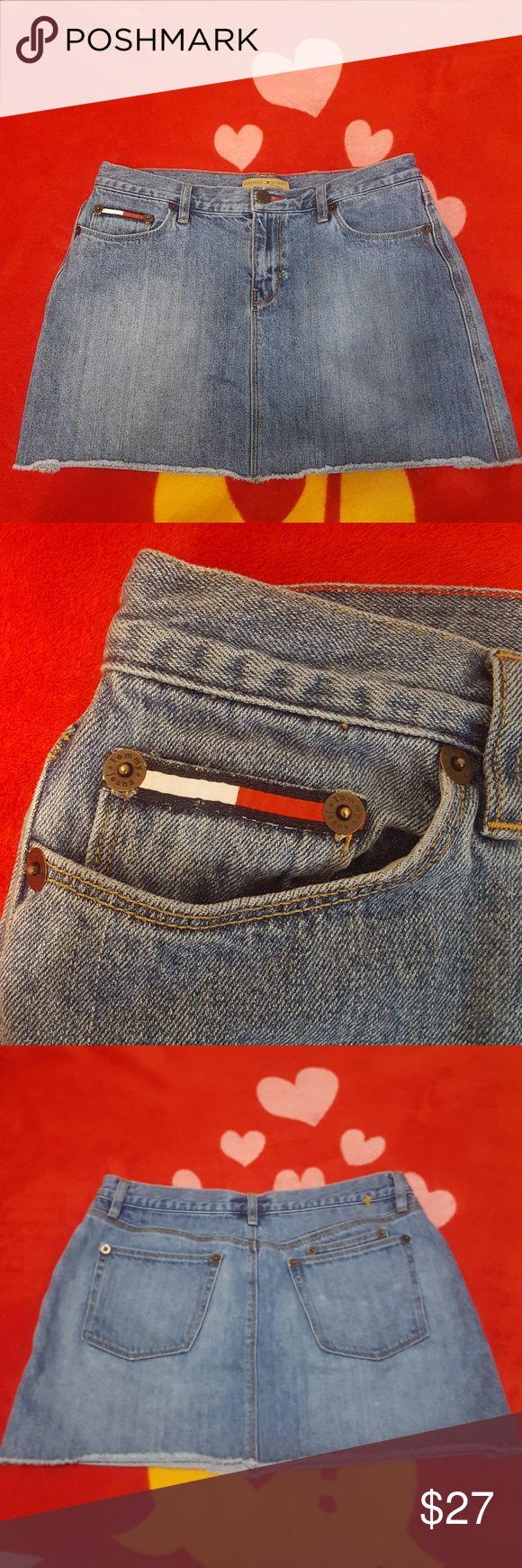 Tommy Hilfiger ~ Denim Skirt ~ Size 11 Cute 90s Tommy Hilfiger Jean Skirt frayed at the bottom Tommy Hilfiger Skirts Mini