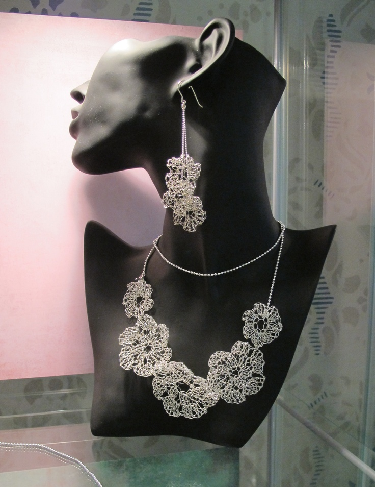 Earrings and necklace from the Floral collection by Jewellery Designer Tytti Lindström