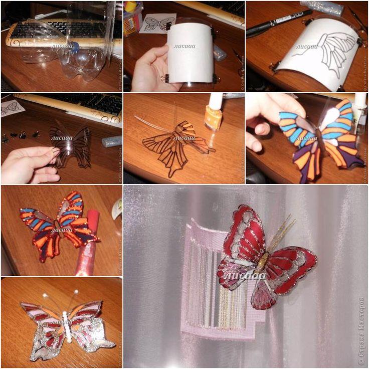 papillons avec  bouteilles d'eau en plastique