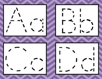 This is a PDF file containing printable alphabet tracing cards. There are four letters per page. Each letter card contains both uppercase and lowercase letters.  The letters are dotted and on a purple chevron background (graphics by Ashley Hughes).  To use, cut the pages into quarters, laminate, single-hole punch, and connect with a large ring.  Have students trace the letters with a dry-erase marker.  This is great as a literacy center for pre-k or kindergarten.  Also great for fine motor…