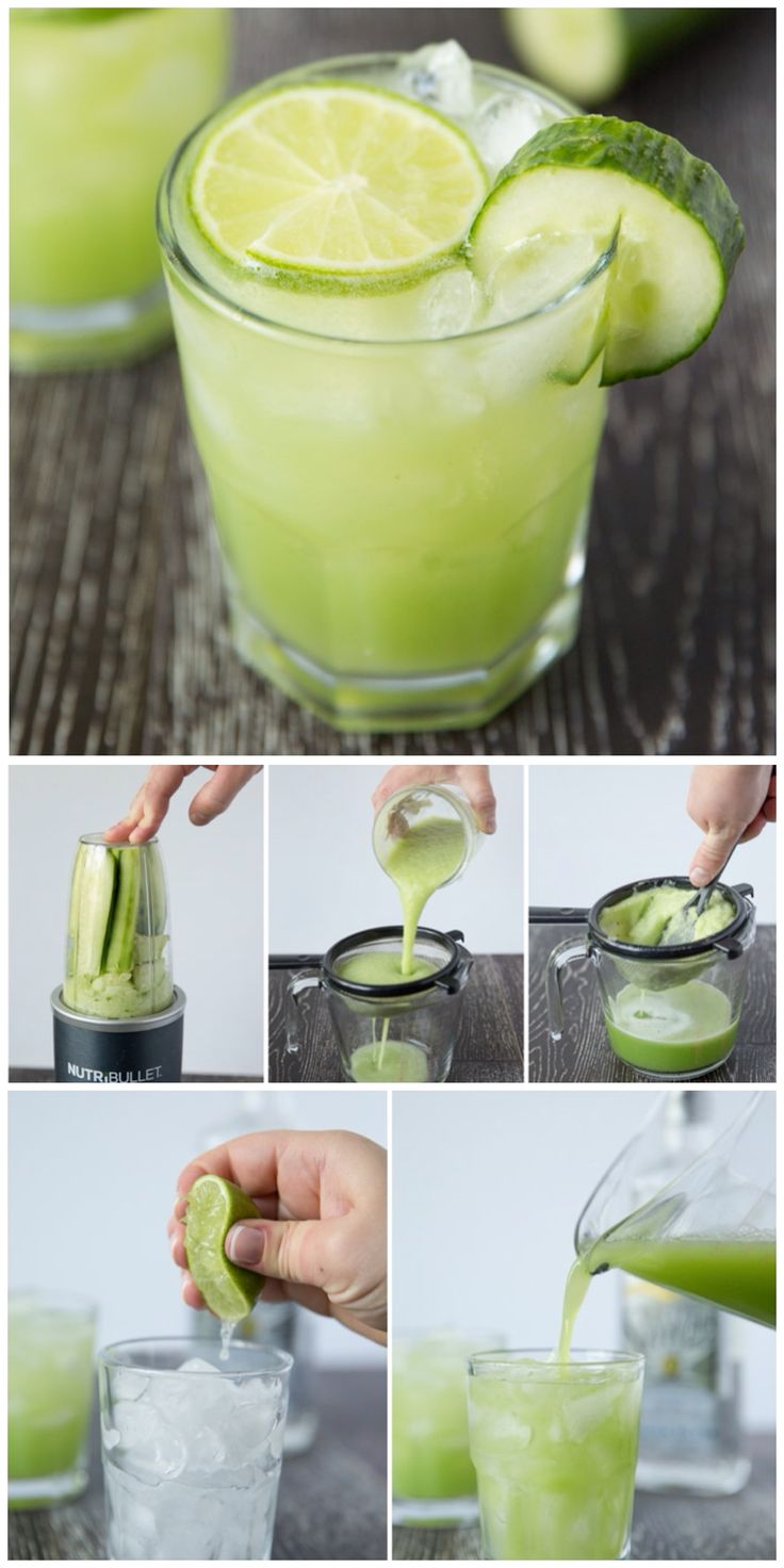 Refreshing cucumber lime margarita. 135 calories, 3 ingredients, sugar free (make in my Nutribullet)