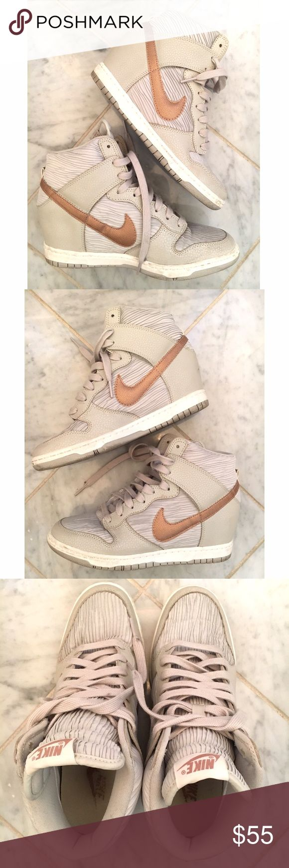 Nike Sky Hi Dunk Wedge Sneakers Size 9 Only worn a few times, these are in very good condition with small mark on back of right heel (shown in photo). Very light grey with copper swoosh, the color combo is perfectly on trend! Super comfy. Nike Shoes Sneakers