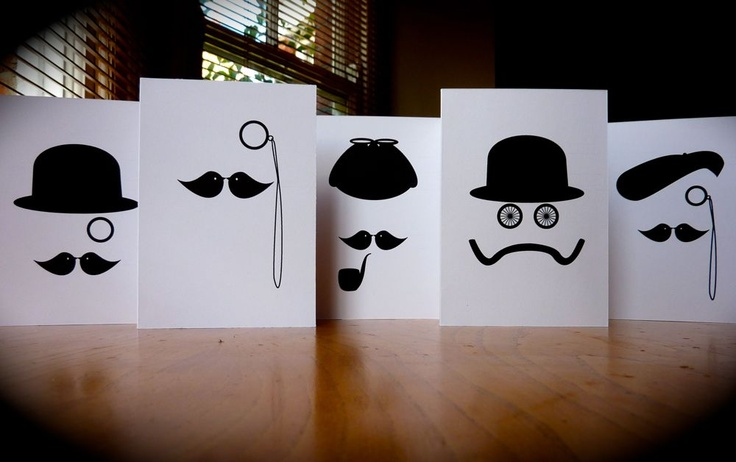 Moustache series as greeting cards and prints by Catherine Pang-Murray