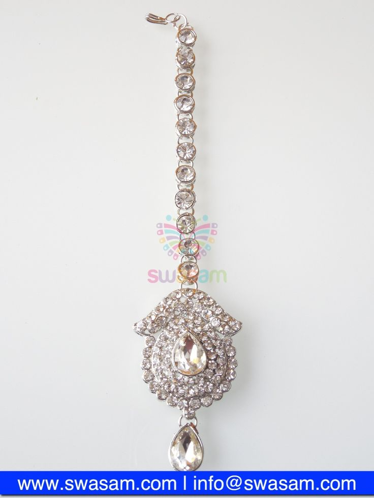 Indian Jewelry Store | Swasam.com: Tikka with Perls and White Stones - Tikka - Jewelry Shop to Buy The Best Indian Jewelry  http://www.swasam.com/jewelry/tikka/tikka-with-perls-and-white-stones-1344.html?___SID=U  #indianjewelry #indian #jewelry #tikka