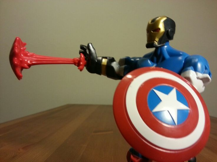 #IronMan #CaptainAmerica hybrid. #Marvel #Superhero Mashers. See it at http://youtu.be/TwPVBlrReBM . #avengers #ultron #toys #toy #actionfigure