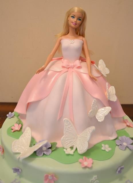 Lovely Barbie Cake.... beautiful fondant dress with butterflies around