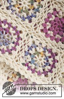 """Frazada DROPS, en ganchillo / crochet, con aplicaciones en """"Fabel"""". ~ DROPS Design"""
