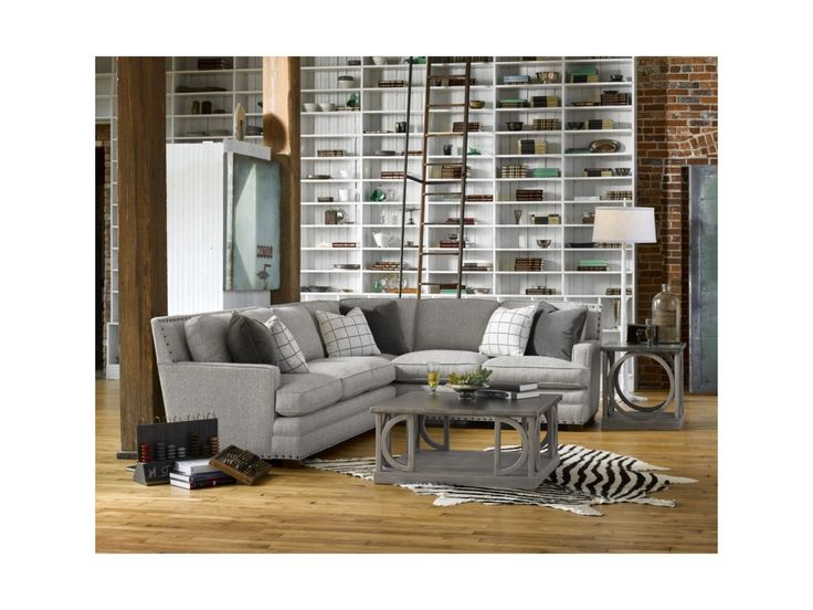 Universal Riley Transitional Sectional Sofa with Nail Head Trim | Reeds Furniture | Sectional Sofas
