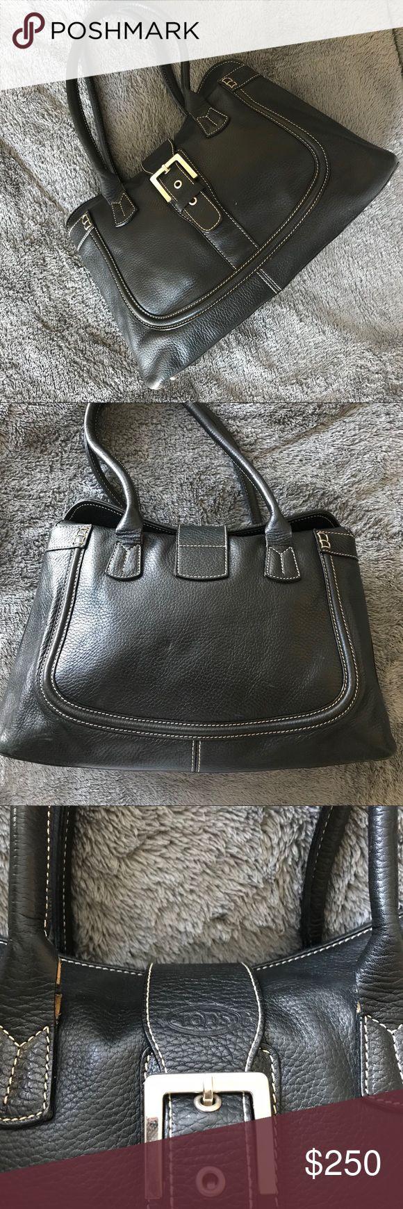 Tods Black Pebbled Leather Hobo/Shoulder Bag $1800 Preowned Tod's Bags Shoulder Bags