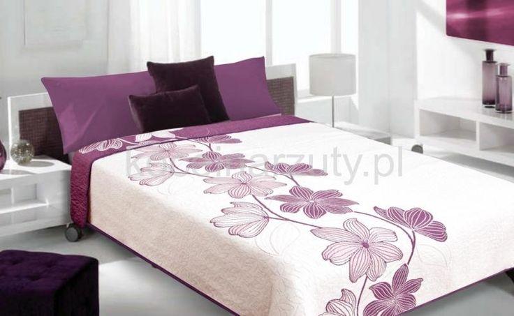 Fioletowe kwiaty dwustronna narzuta kremowa na łóżko