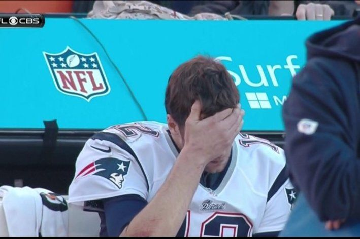 Tom Brady becomes Facepalm Tom as the Patriots lose to Peyton Manning. Now that's a pouty face.