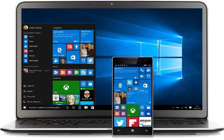 Laptop és telefon a Windows 10 Start menüvel