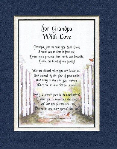 For Grandpa with Love Poem. Gifts for grandpa (Fathers Day gifts for grandfather)