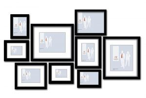 These Slim Box frames have a depth of 30mm and can be mounted to a wall vertically or horizontally. The depth to the mat board is 10mm, creating an additional dimension. This set includes: 2x 5x7 Slim Box Frames, 2x 6x8 Slim Box Frames (With a 4x6 mat), 1x 8x10 Slim Box Frame, 2x 8x10 Slim Box Frames (With a 5x7 mat), 2x 12x14 Slim Box Frames (With a 8x10 mat). Price $300 http://www.pictureframes-online.com.au/
