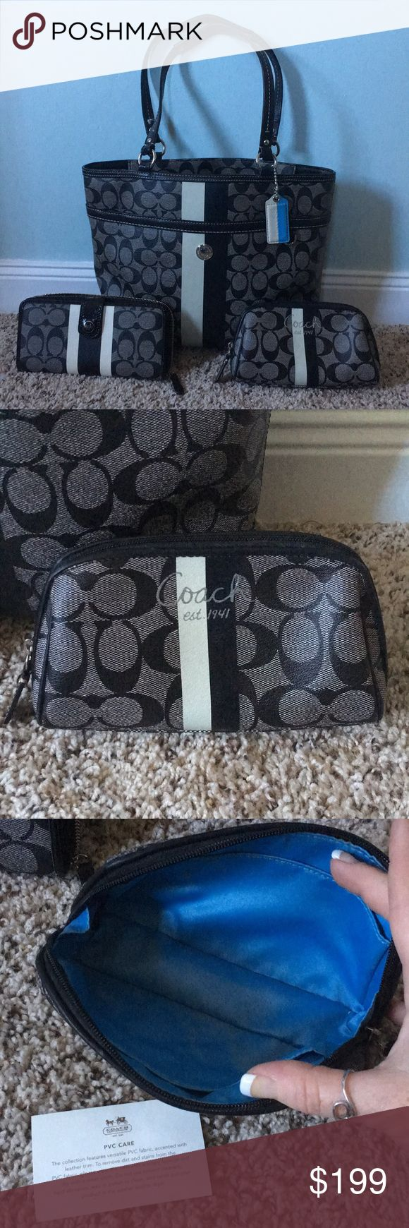 3 pc EUC coach set matching wallet makeup bag Excellent used condition black and gray coach with white stripe from the coach heritage collection beautiful inside and out, this piece is clean clean clean. Blue satin interior has a couple of stains but exterior is almost perfect handles are in almost perfect condition the zipper and snap buttons are functional on all three pieces the full-size wallet has a zipper change pouch, makeup bag is perfect sized for checkbook/stamps as well. Can't say…