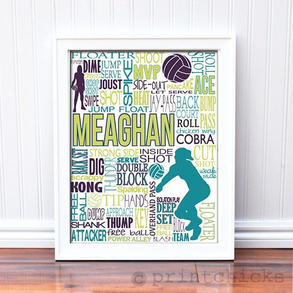 volleyball personalized typography print - Volleyball Bedroom Decor
