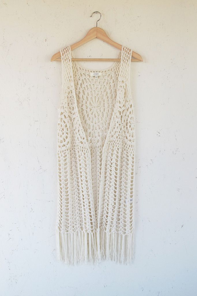 Modern Bohemian Beige Crochet Fringe Vest