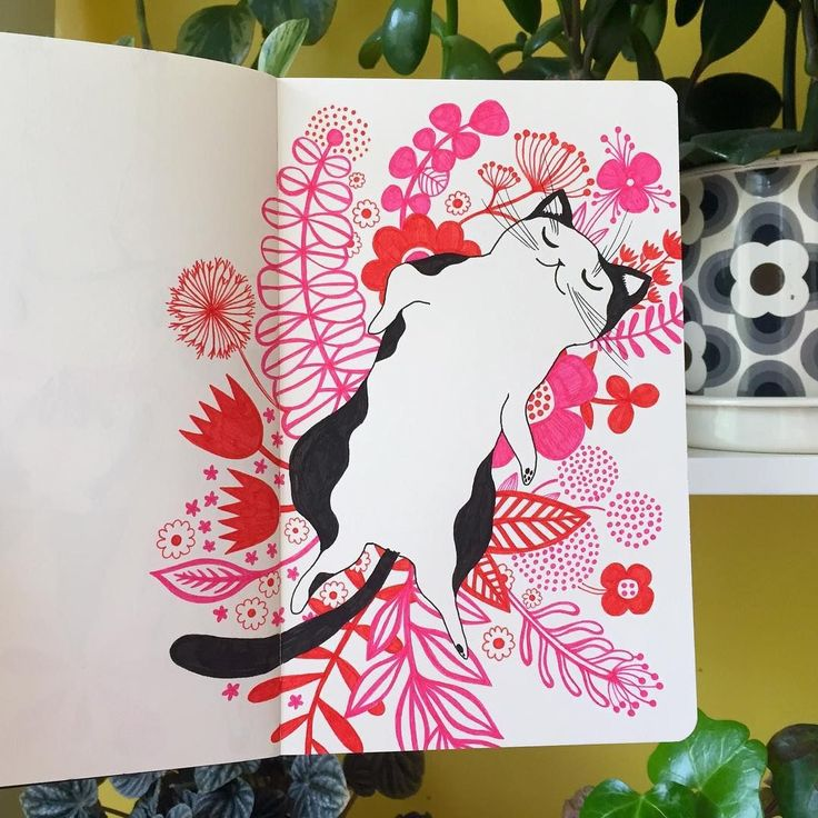 Helen Dardik - a portrait of my cat Fergus in what seems to be his most natural state:)... #sketch #moleskine