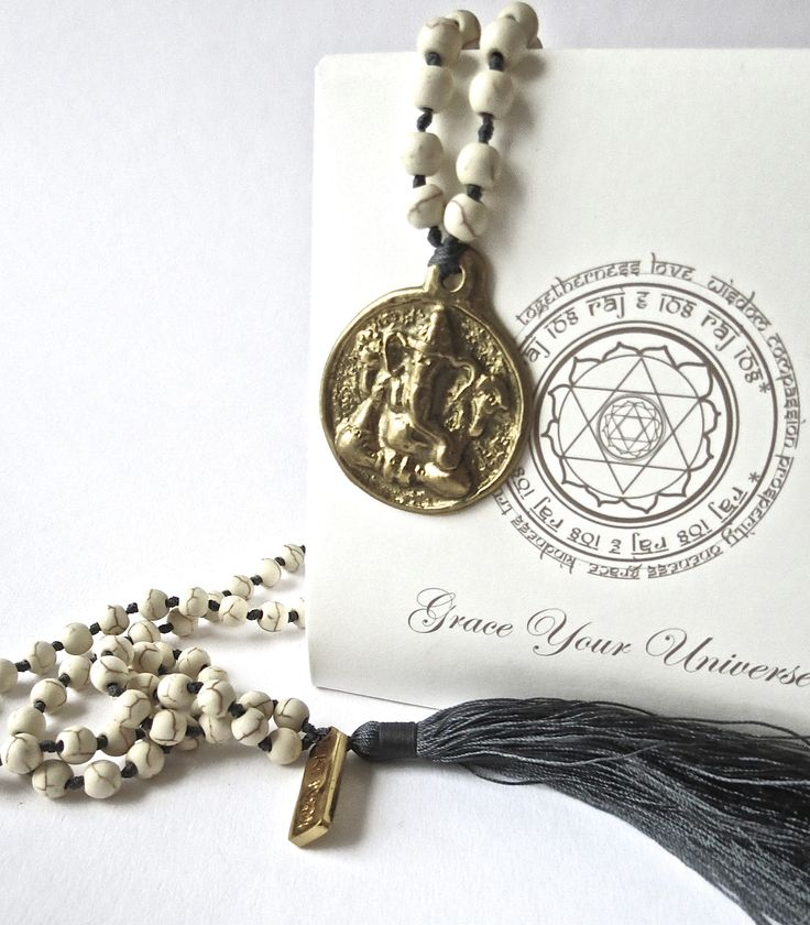 raj108 white kundalini yoga yoga yogic  grace your universe mala jewellery magnesite tassels satnam brass beads labels mandala ganesha champagne gold