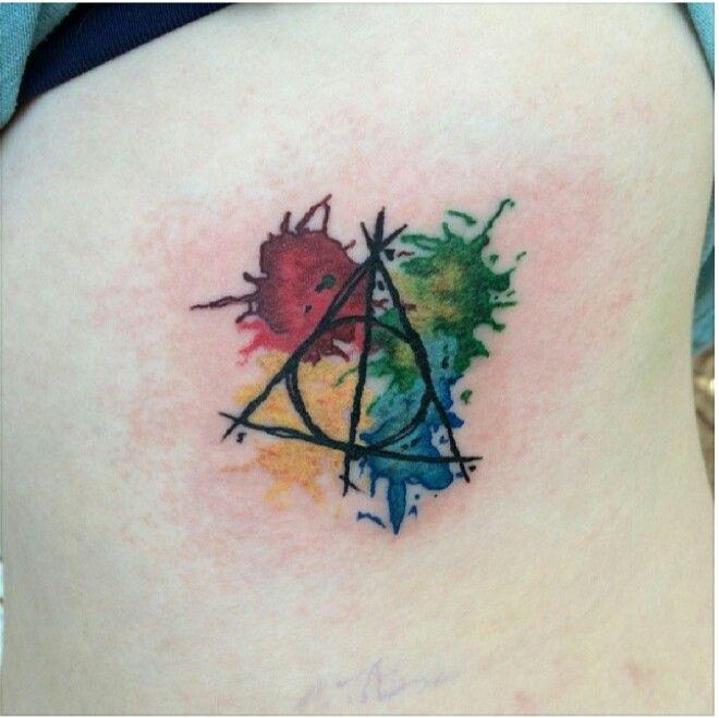 #harry #potter #deathlyhallows #tattoo #colourful #art