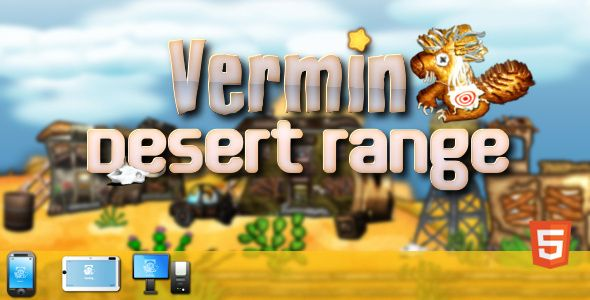 Vermin Desert Range classic arcade lightgun style shooter. You have a 90 seconds to clean up the desert from vermin. The game includes a hidden items. Find them all and complete mini quest.   Construct 2 project file is included and regular license is just a 11 USD.