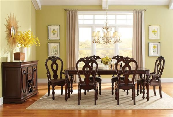 Westchester traditional cherry wood 7pc dining room set for Cherry wood dining room set