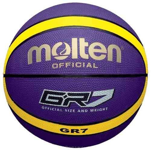 Balón Molten BGR7-VY, con un diseño morado y amarillo para uso exterior www.basketspirit.com/Molten