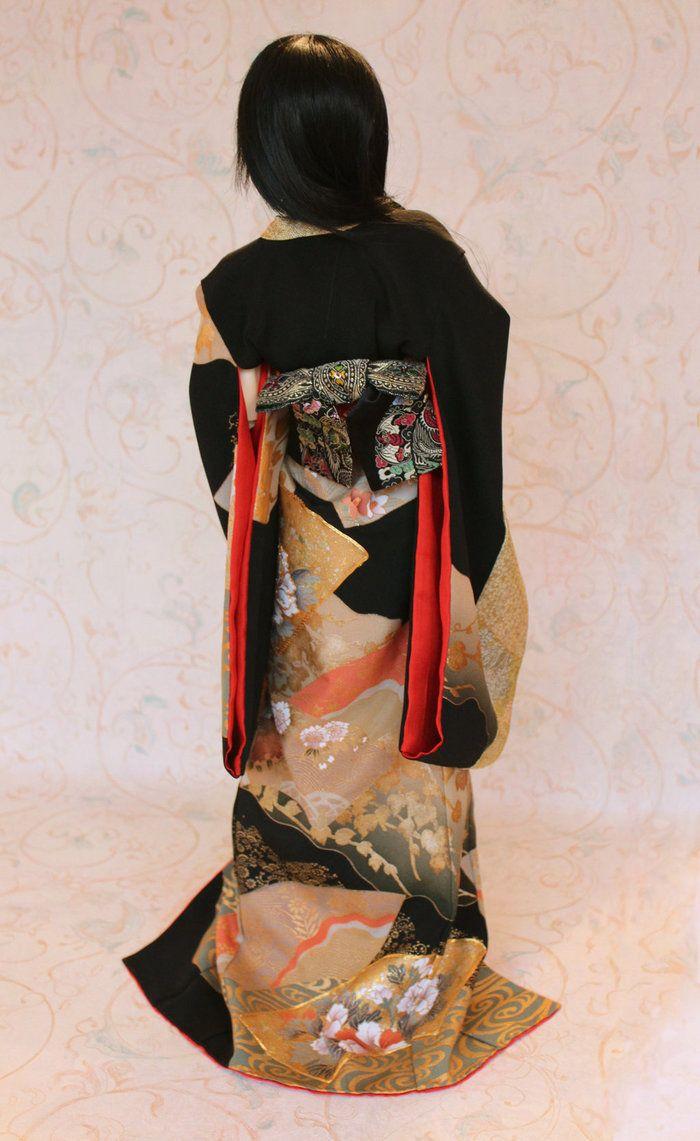 BJD kimono - Sensu and Flowers by InarisansCrafts