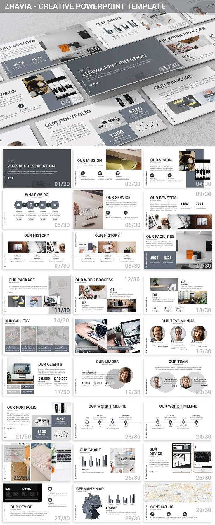 Zhavia - Creative Powerpoint Presentation Template