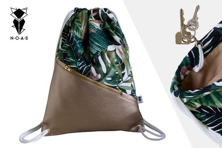 Holiday+Bag+golden+leather+meets+palms+von+NOAS_Berlin+auf+DaWanda.com